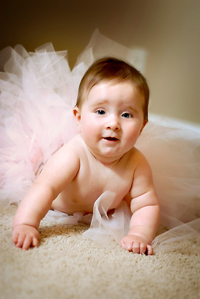 baby girl in a pink tutu