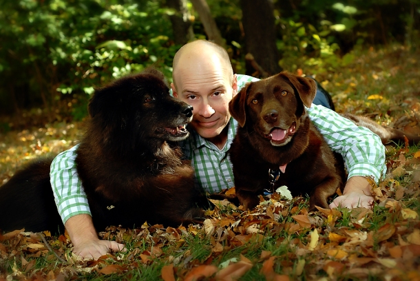 family photo- jason and his dogs