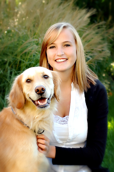senior pictures - a girl and her dog