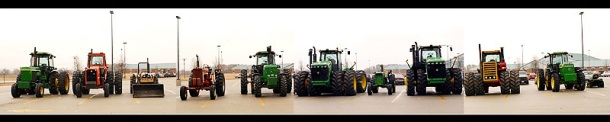 tractors in school parking lot!
