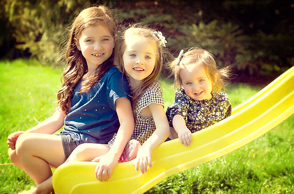 color picture of 3 girls on location