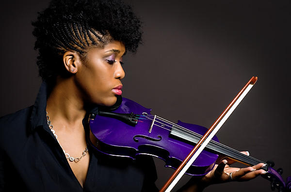 portrait of a woman and her  violin
