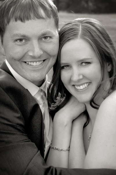bw portrait of bride and groom