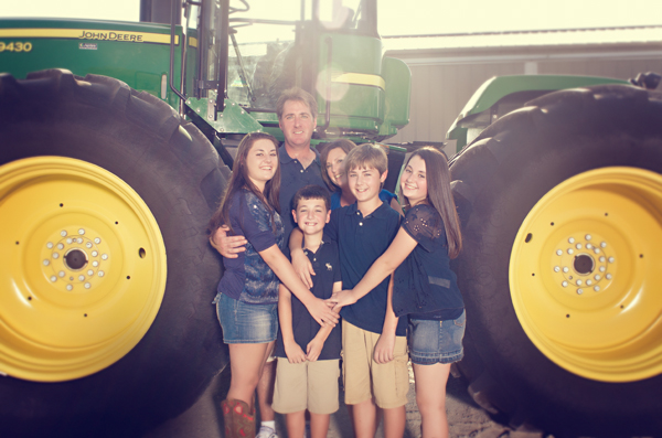 Family portrait with tractor