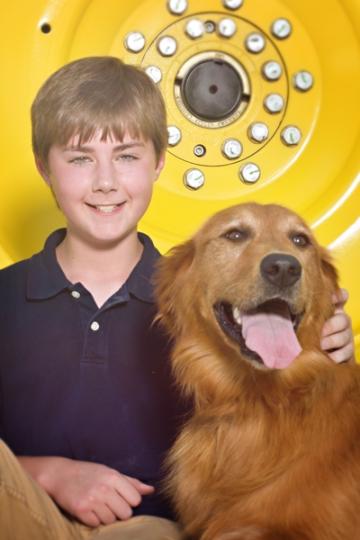 farm family portraits, boy with dog