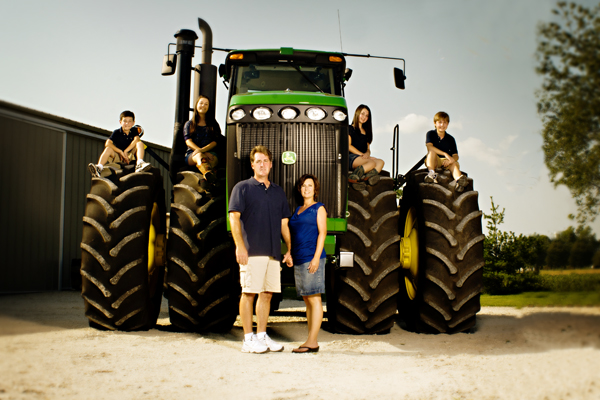 Family portrait on a tractor