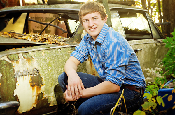 Senior photo with vintage car