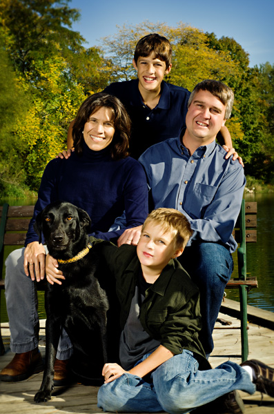 outdoor family with dog