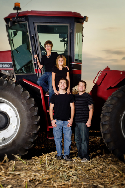 family photos on the tractor