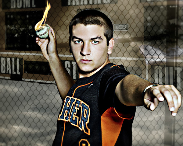 senior portrait_flaming baseball
