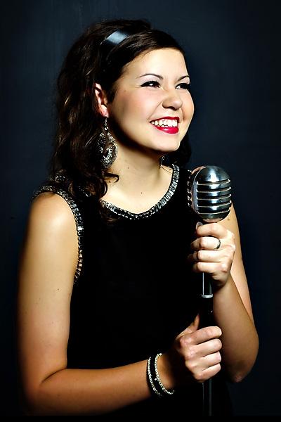 senior girl with mic