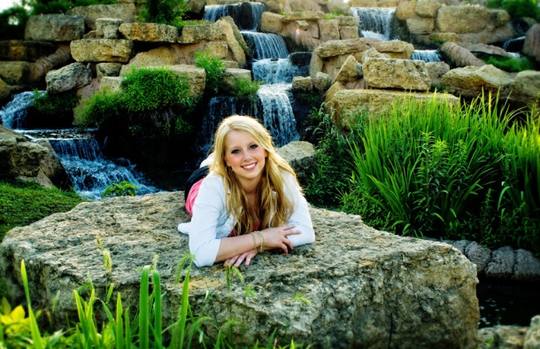 senior girl with waterfall
