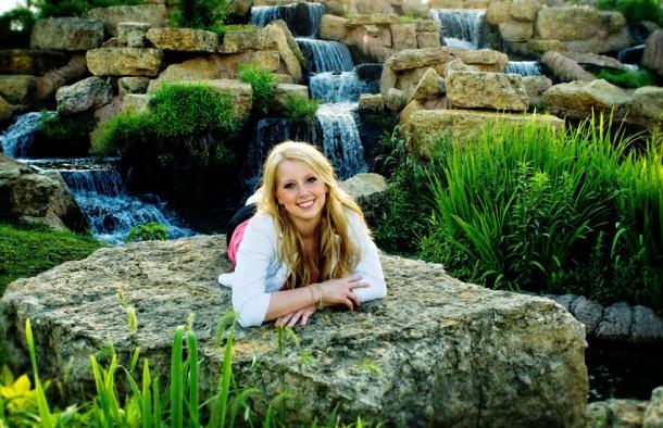 senior girl with waterfall