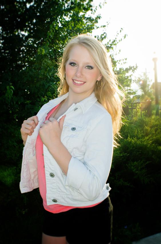 senior girl in denim jacket